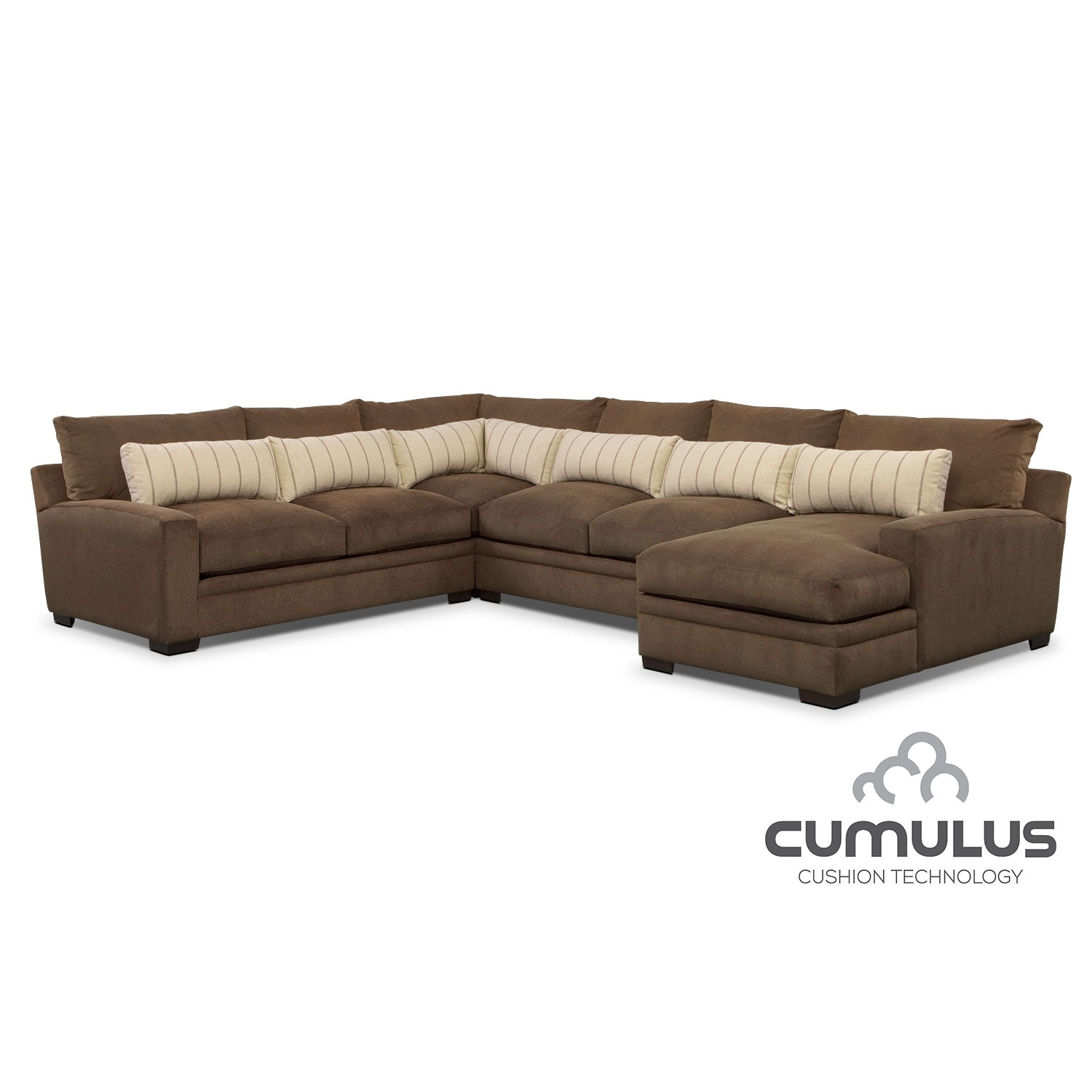 Ventura 4 Piece Sectional with Right Facing Chaise Brown