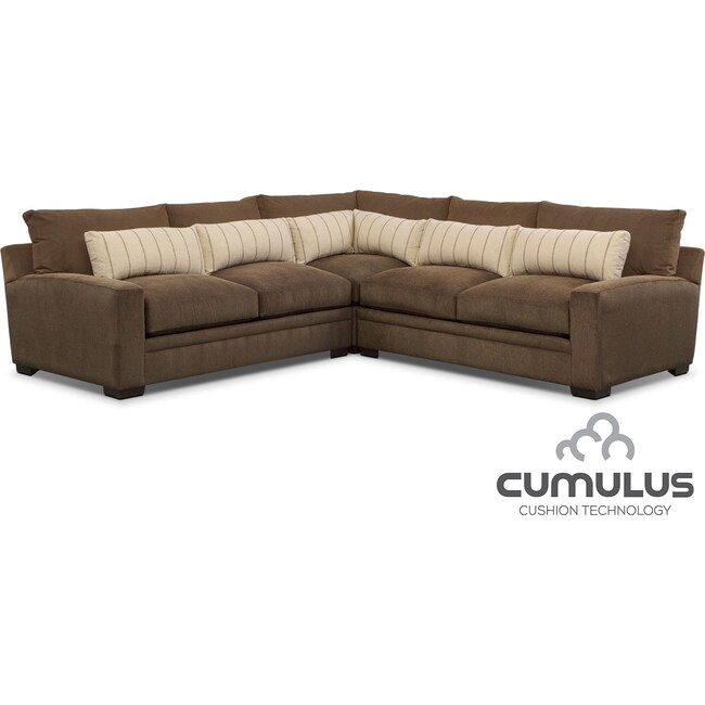 Living Room Furniture - Ventura 3-Piece Sectional - Brown