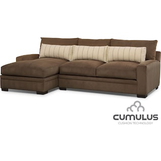 Ventura 2-Piece Sectional with Left-Facing Chaise - Brown