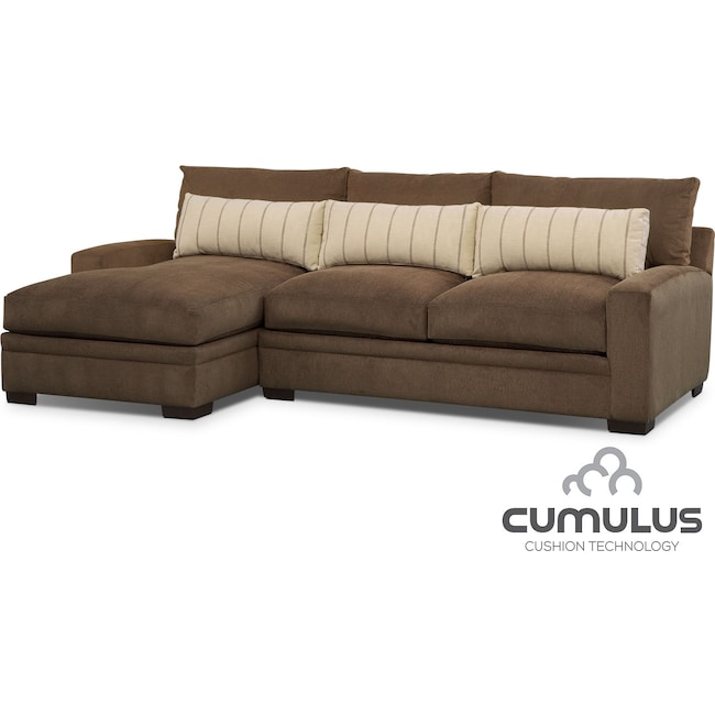 Living Room Furniture - Ventura 2-Piece Sectional with Left-Facing Chaise - Brown
