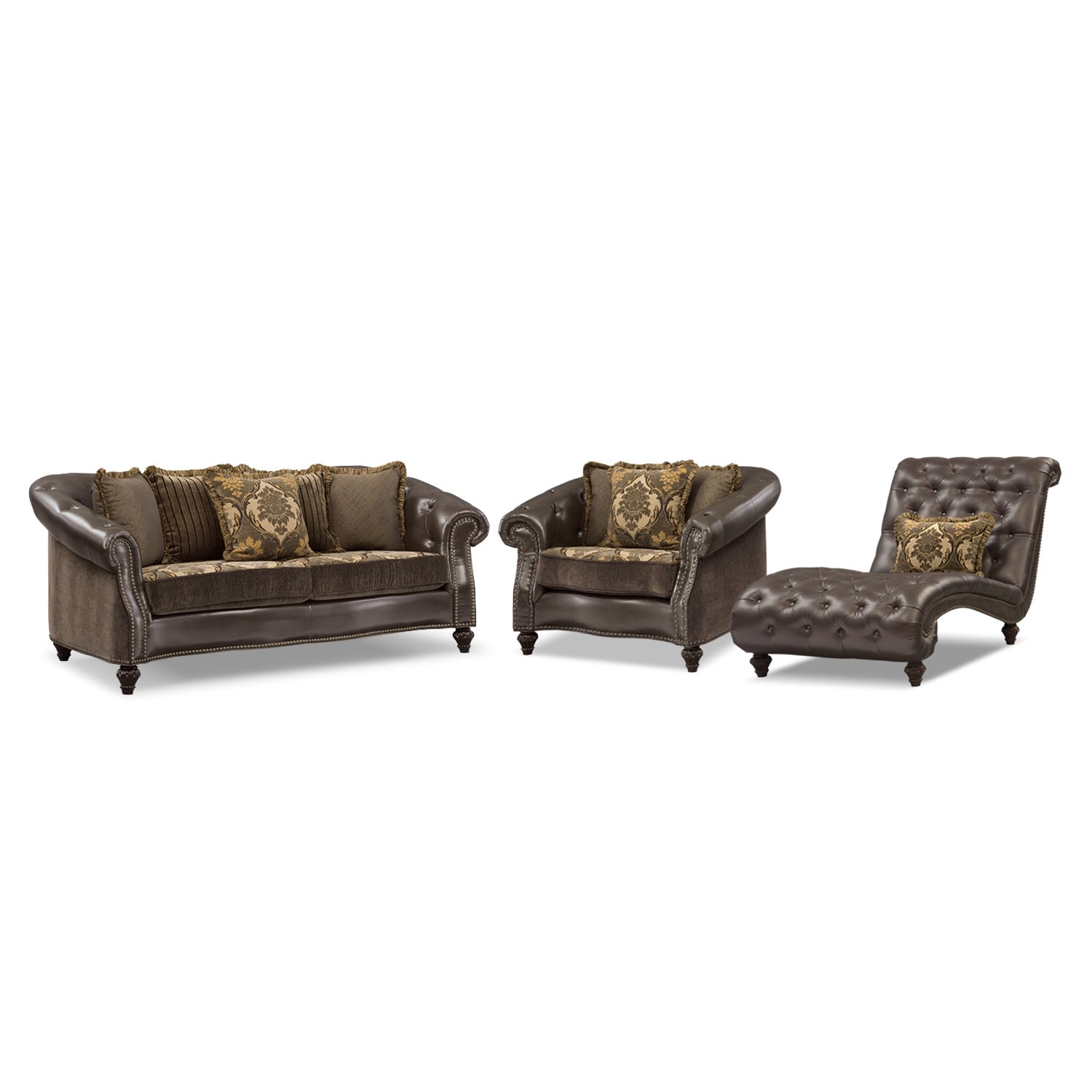 Living Room Furniture - Nicholas 3 Pc. Living Room w/Chair and Chaise