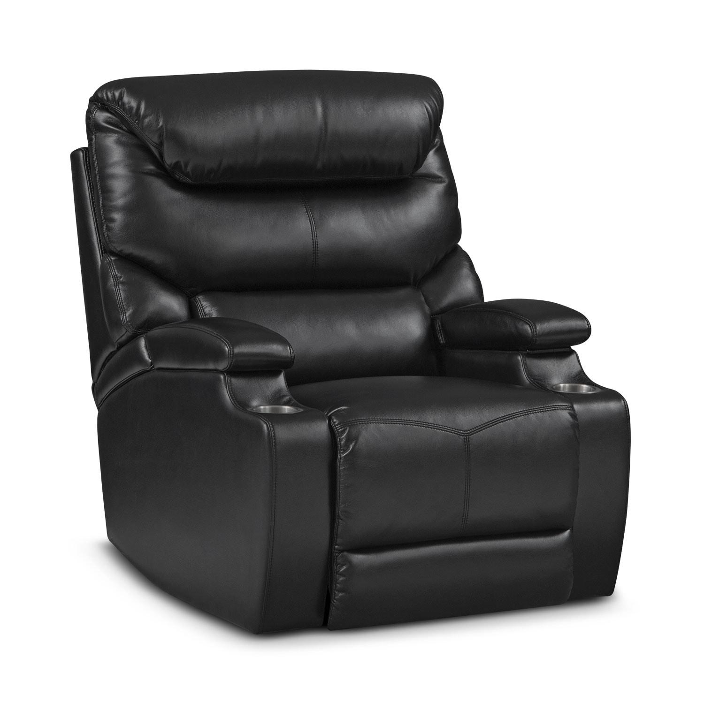 Living Room Furniture - Saturn Black Power Recliner