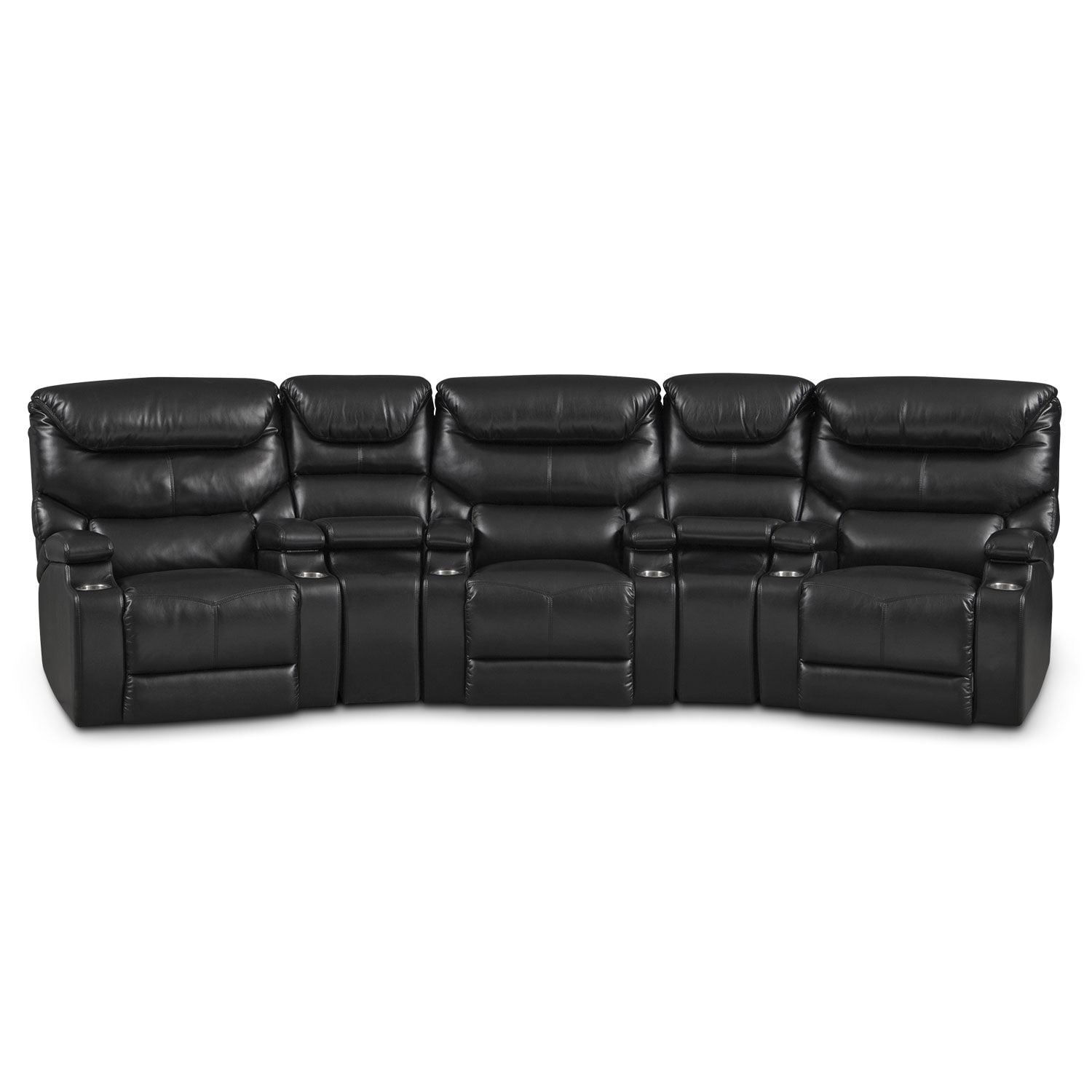 Living Room Furniture - Jupiter Black 5 Pc. Power Home Theater Sectional