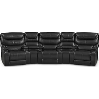 Saturn 5-Piece Power Home Theater Sectional - Black