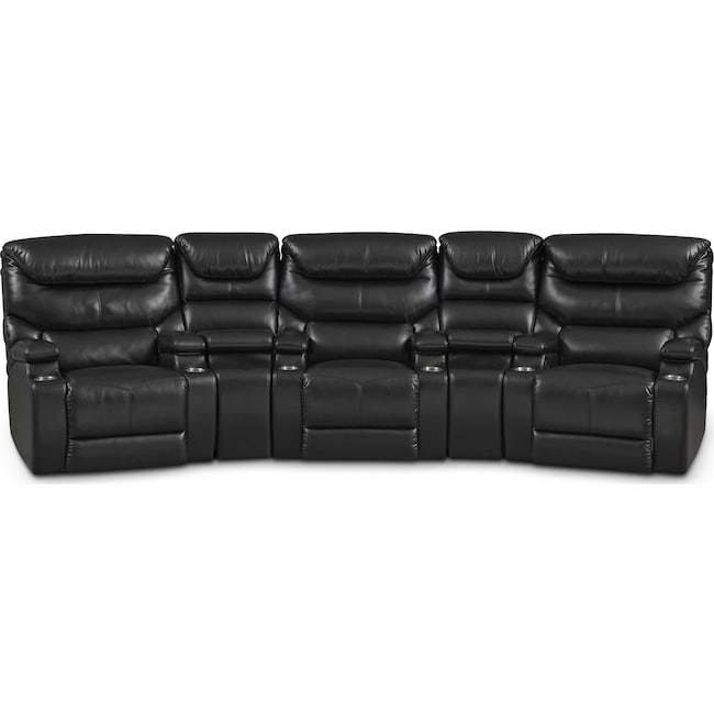 Living Room Furniture - Saturn 5-Piece Dual-Power Home Theater Sectional