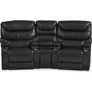 Saturn 3-Piece Power Home Theater Sectional - Black