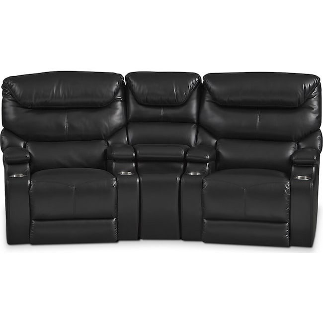 Living Room Furniture - Saturn 3-Piece Power Home Theater Sectional - Black
