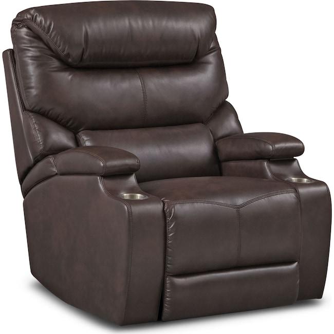 Living Room Furniture - Saturn Power Recliner - Brown