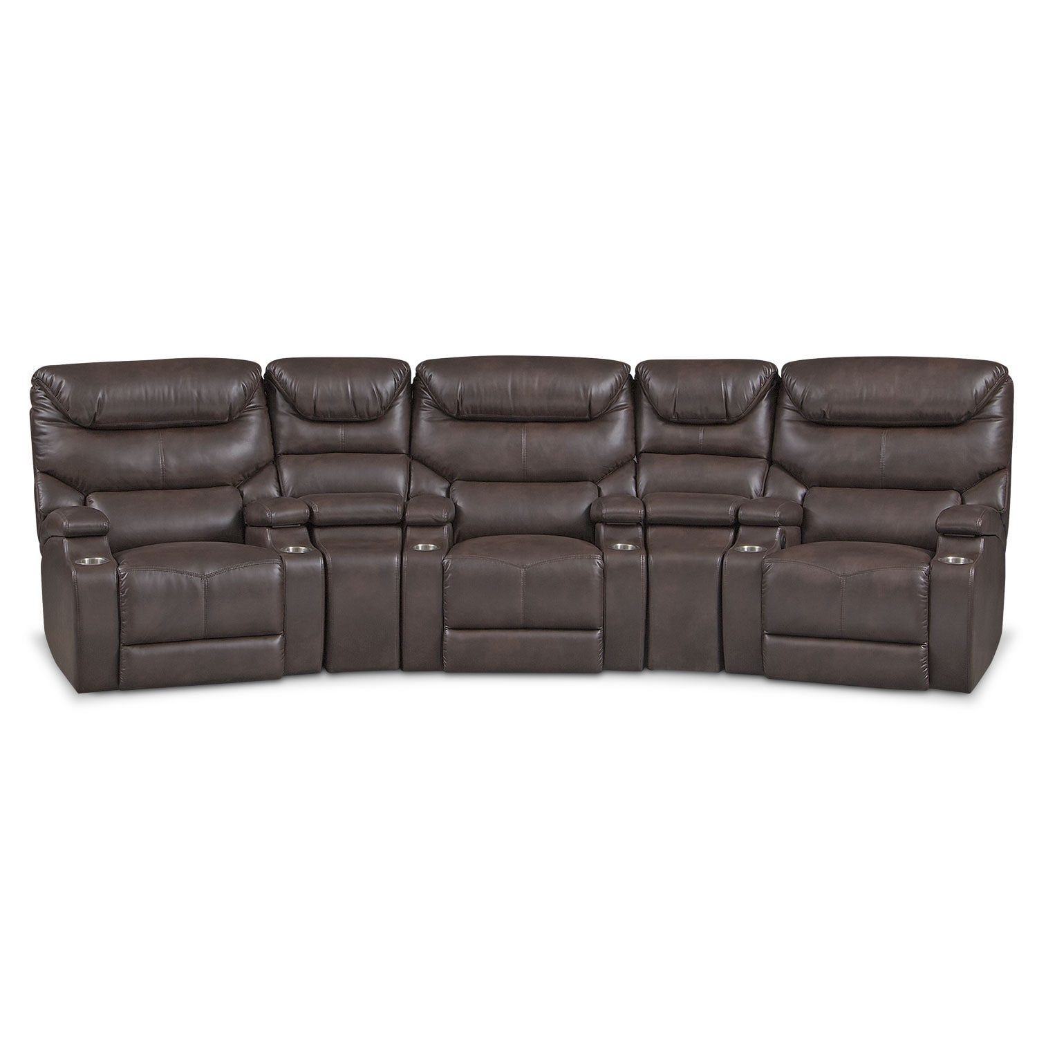 Living Room Furniture - Jupiter 5-Piece Power Reclining Home Theater Sectional - Brown