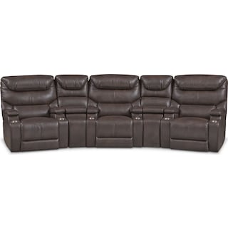 Saturn 5-Piece Power Home Theater Sectional - Brown