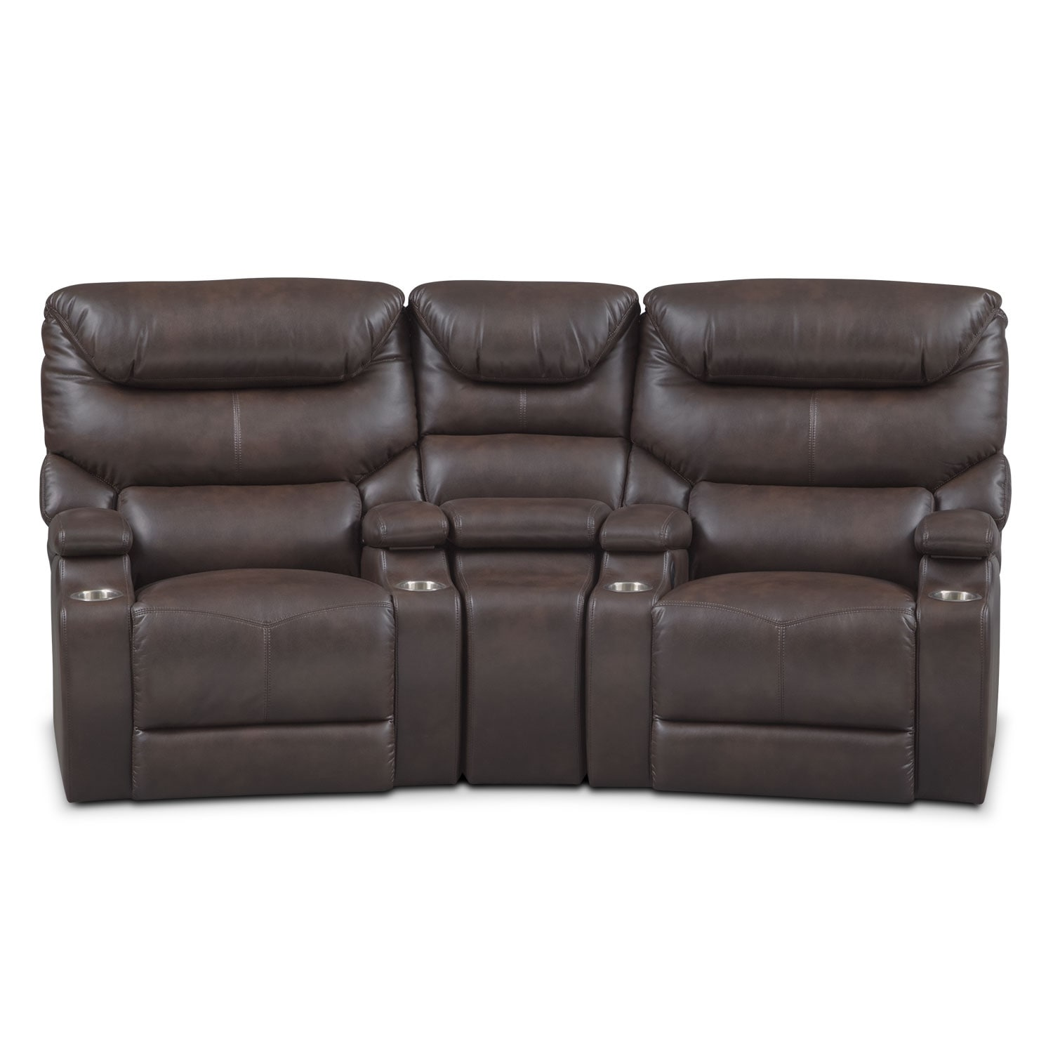 Saturn 3-Piece Power Home Theater Sectional - Brown