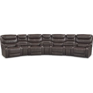 Saturn 7-Piece Power Home Theater Sectional - Brown