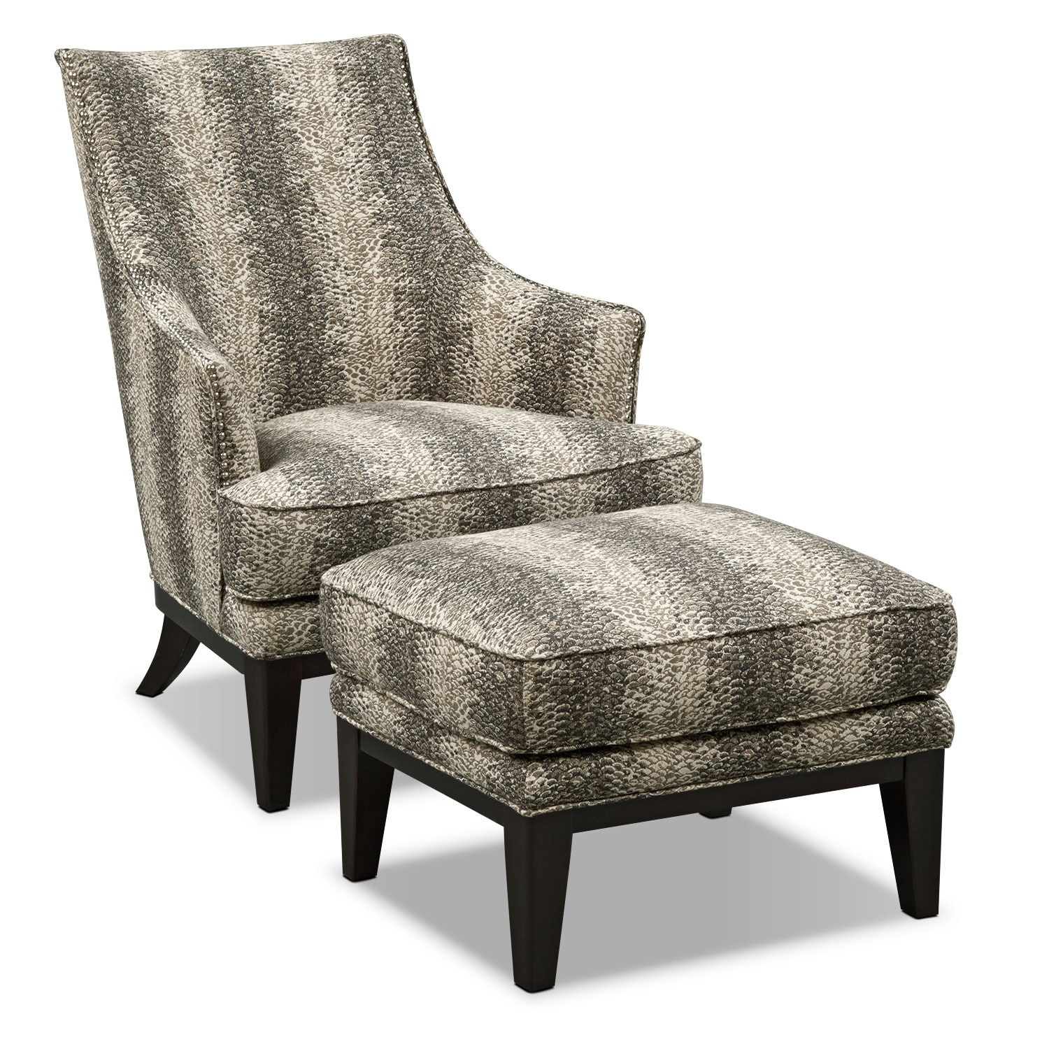 Living Room Furniture - Alexis Accent Chair and Ottoman