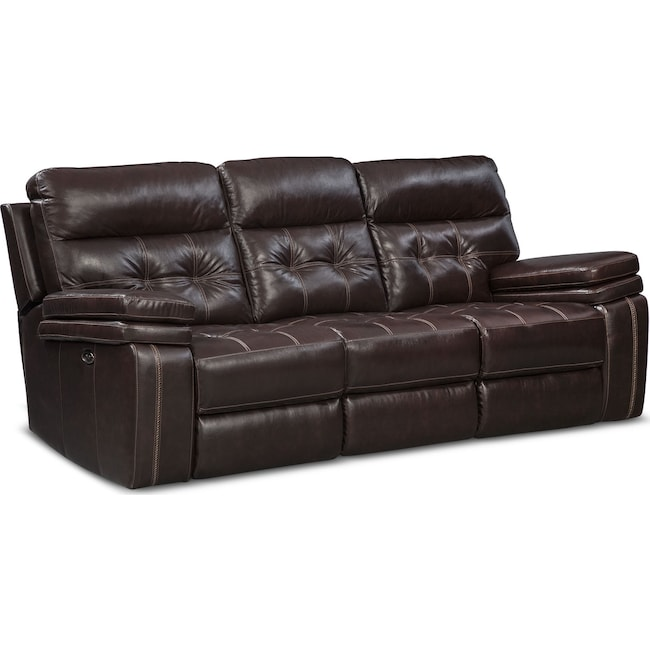 Living Room Furniture - Brisco Power Reclining Sofa - Brown