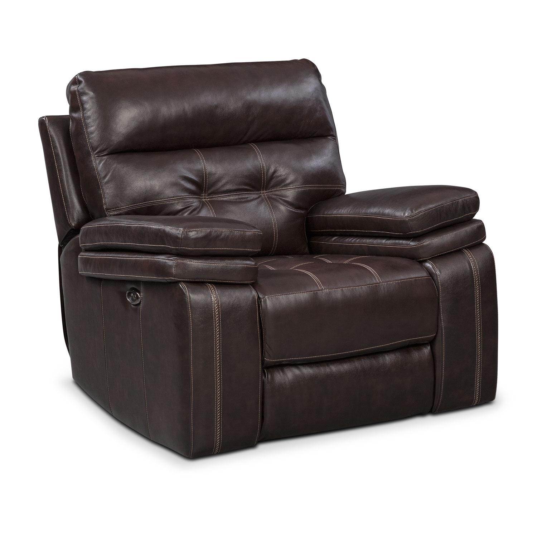 Value City Furniture Recliners: Brisco Power Glider Recliner - Brown