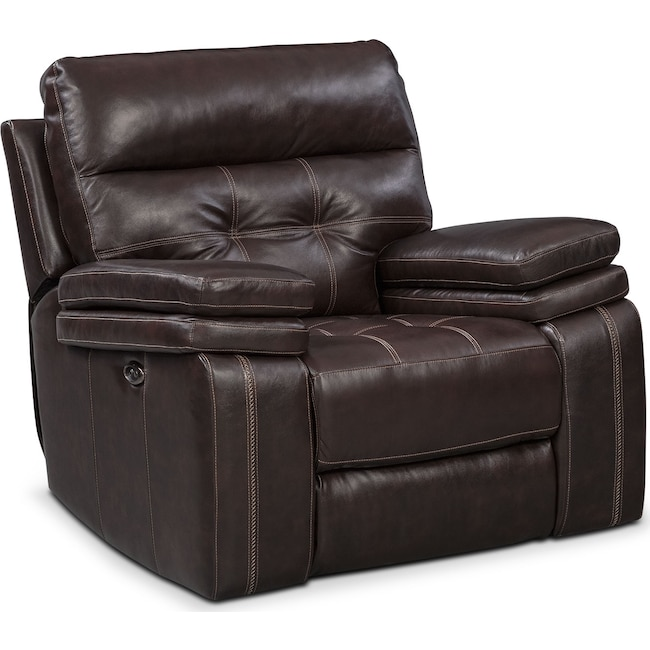 Living Room Furniture - Brisco Power Glider Recliner - Brown