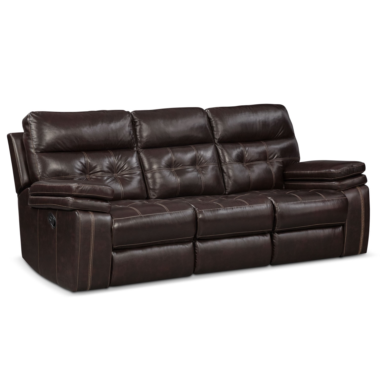 Living Room Furniture - Brisco Brown Manual Reclining Sofa