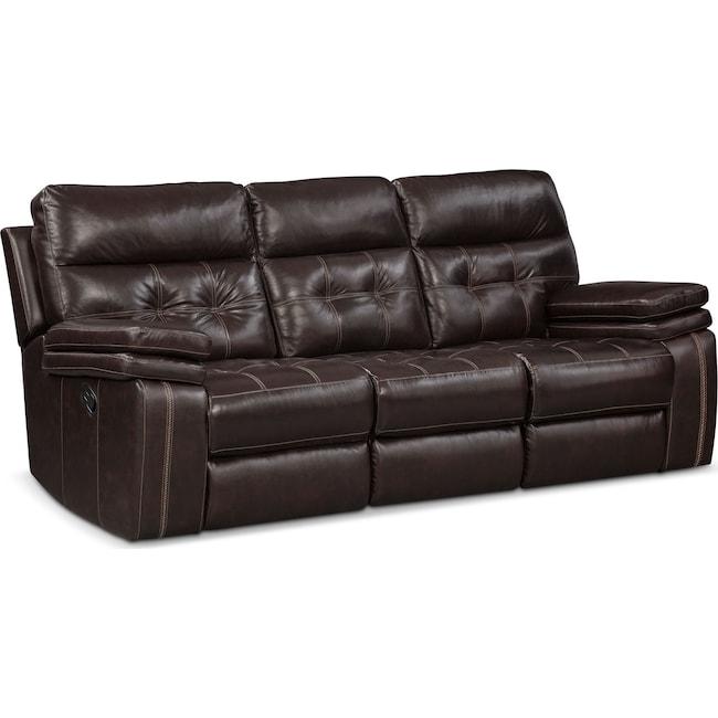 Living Room Furniture - Brisco Manual Reclining Sofa - Brown