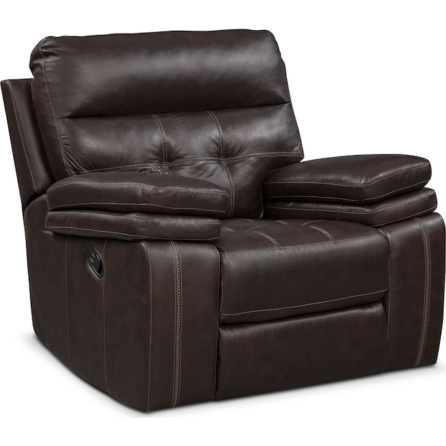 Living Room Furniture - Brisco Manual Recliner - Brown