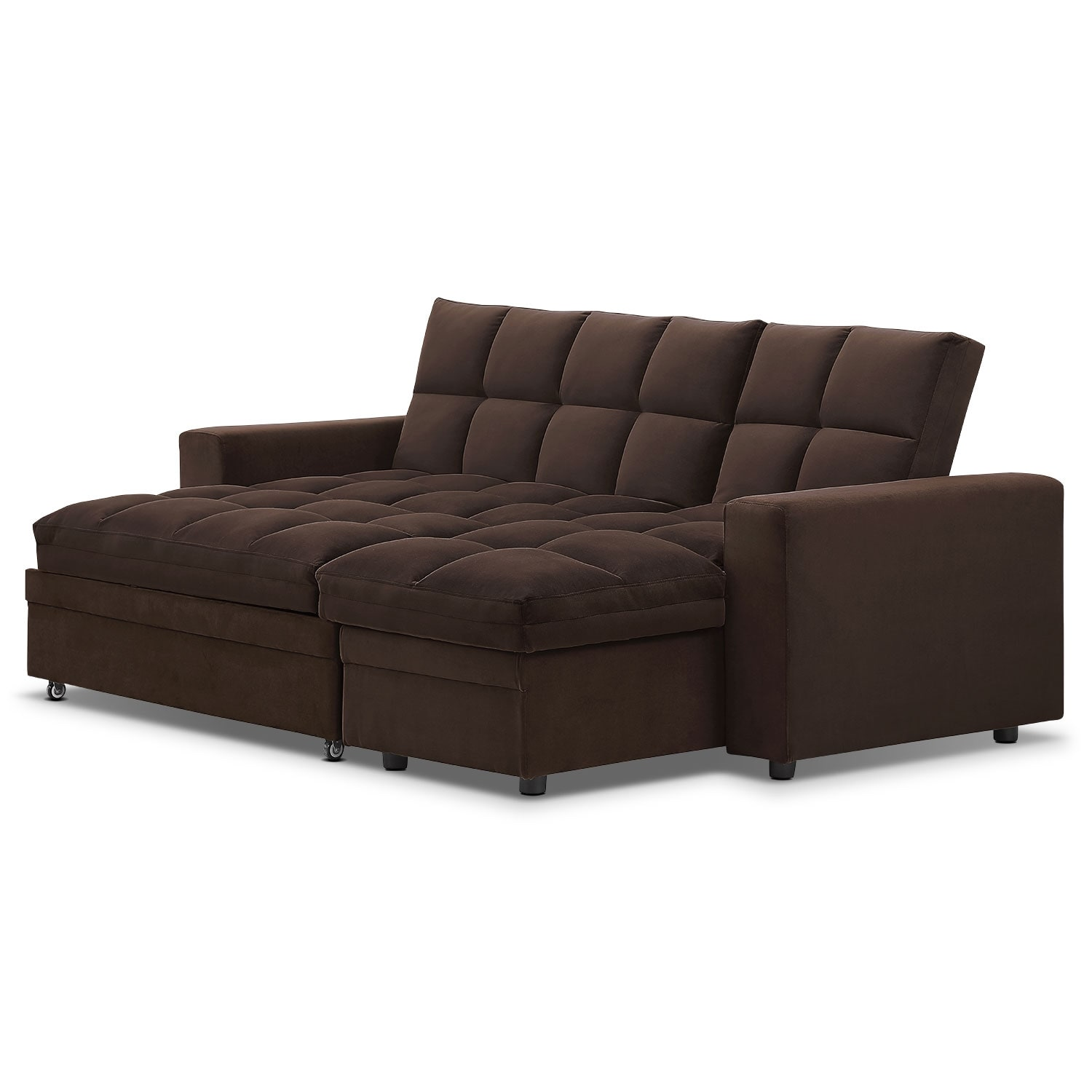 Metro 2 pc chaise sofa bed w storage value city furniture for Sofa bed 65 inches