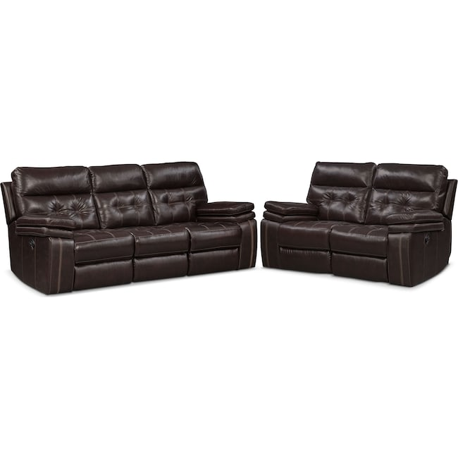 Living Room Furniture - Brisco Manual Reclining Sofa and Loveseat Set