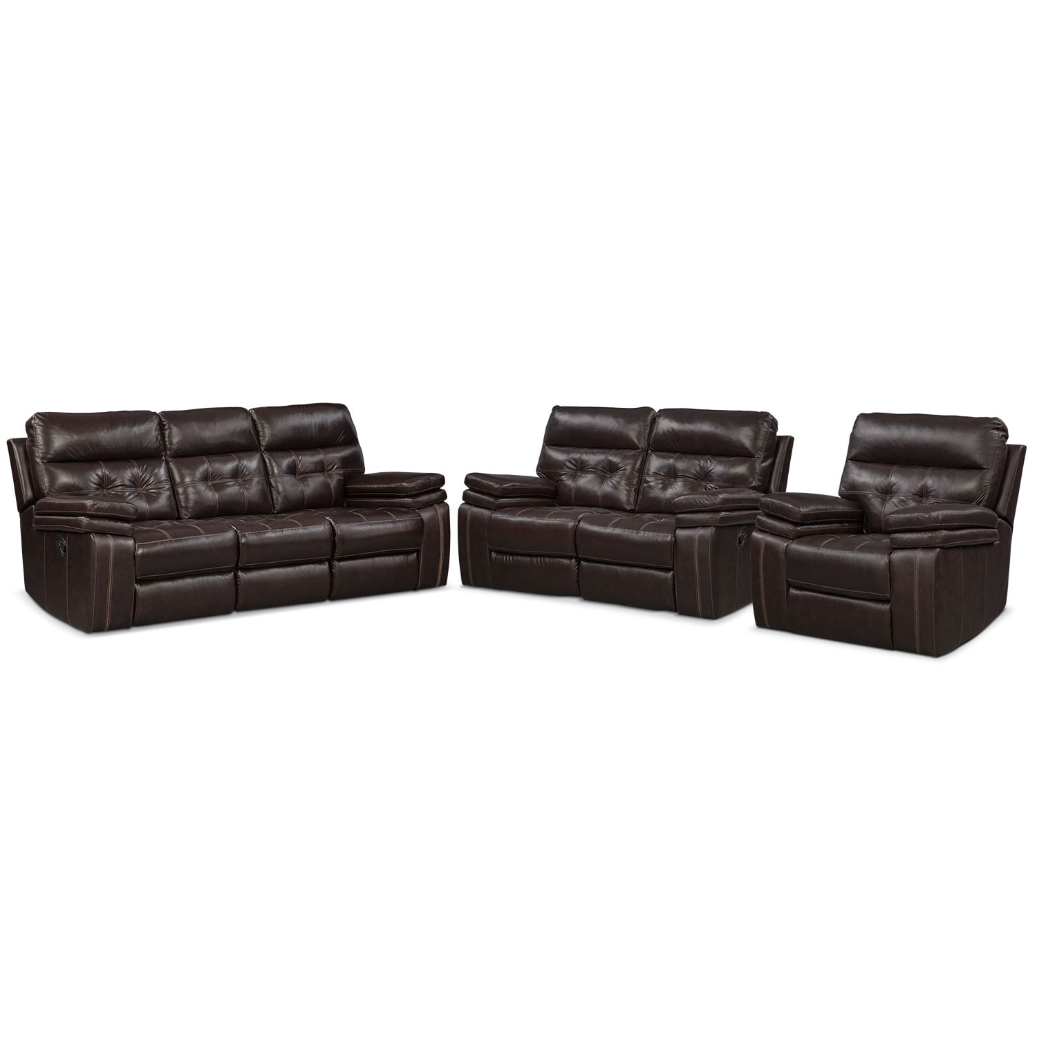 Living Room Furniture - Brisco Manual Reclining Sofa, Loveseat, and Recliner Set