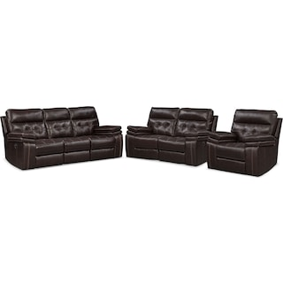 Brisco Manual Reclining Sofa, Reclining Loveseat and Recliner Set - Brown