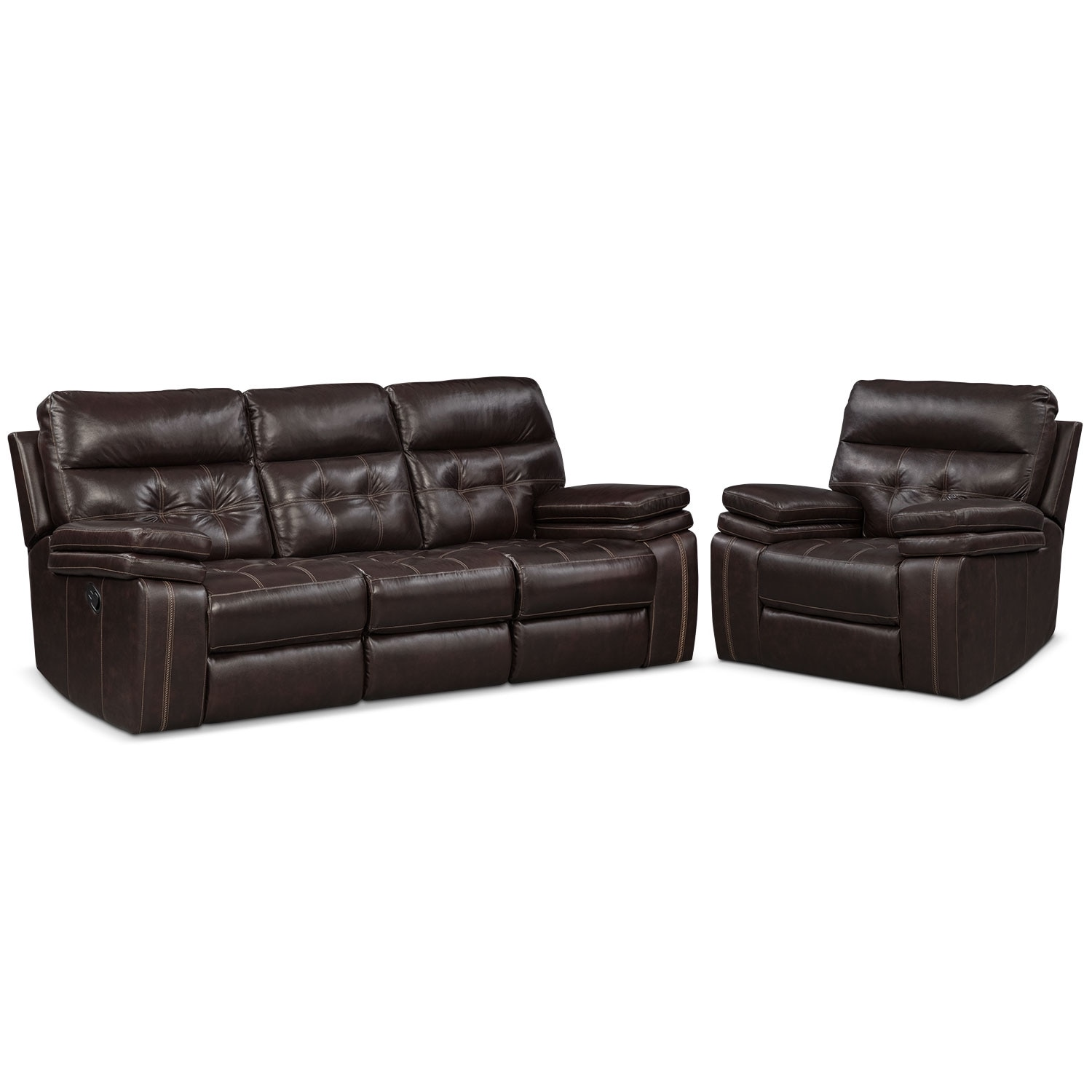 Living Room Furniture - Brisco Brown 2 Pc. Manual Reclining Living Room w/ Recliner