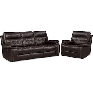 Brisco Manual Reclining Sofa and Recliner Set - Brown