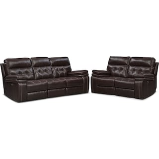 Brisco Power Reclining Sofa and Reclining Loveseat Set - Brown