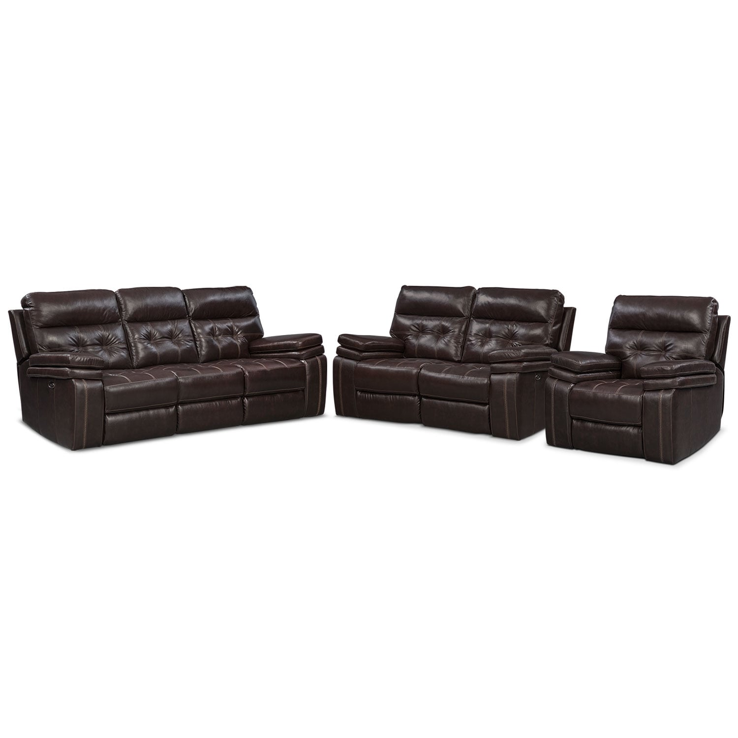 Living Room Furniture - Brisco Power Reclining Sofa, Reclining Loveseat and Glider Recliner Set - Brown