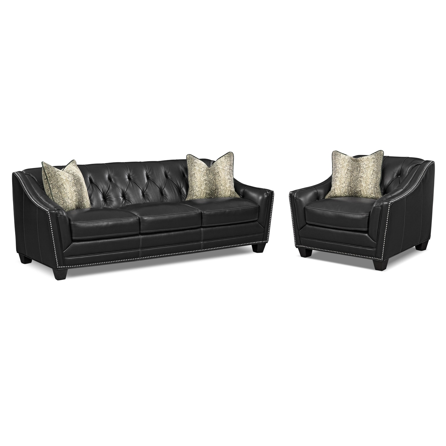 Living Room Furniture - Alexis Midnight 2 Pc. Living Room w/ Chair