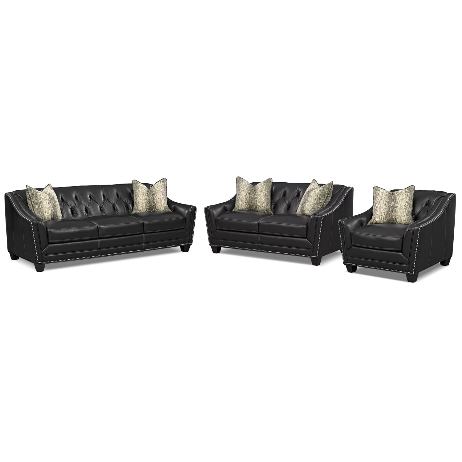 Living Room Furniture - Alexis Midnight 3 Pc. Living Room