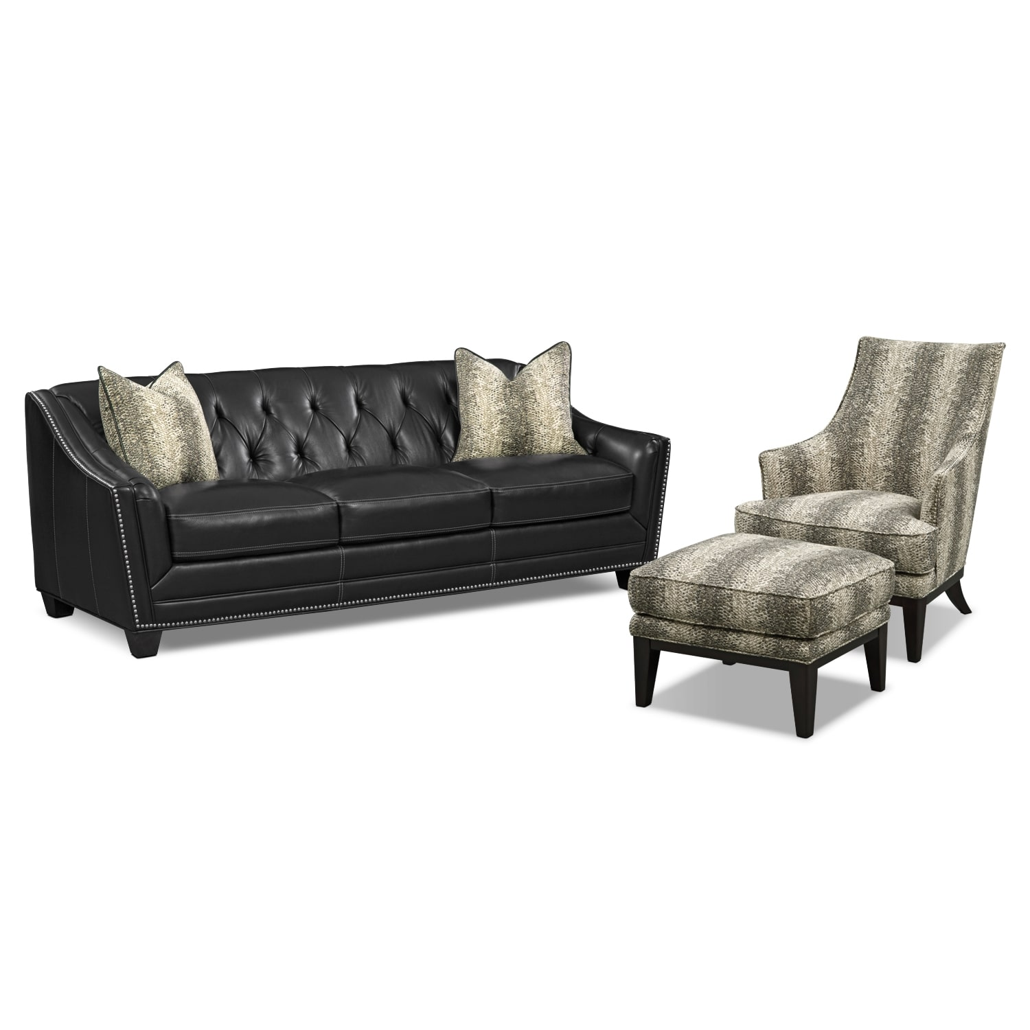 Living Room Furniture - Alexis Midnight 3 Pc. Living Room w/ Accent Chair