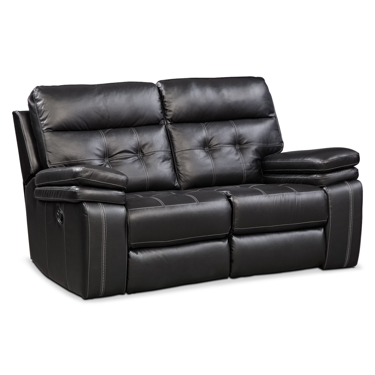 Living Room Furniture - Brisco Black Manual Reclining Loveseat