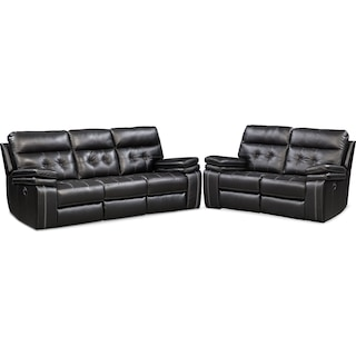Brisco Manual Reclining Sofa and Reclining Loveseat Set - Black