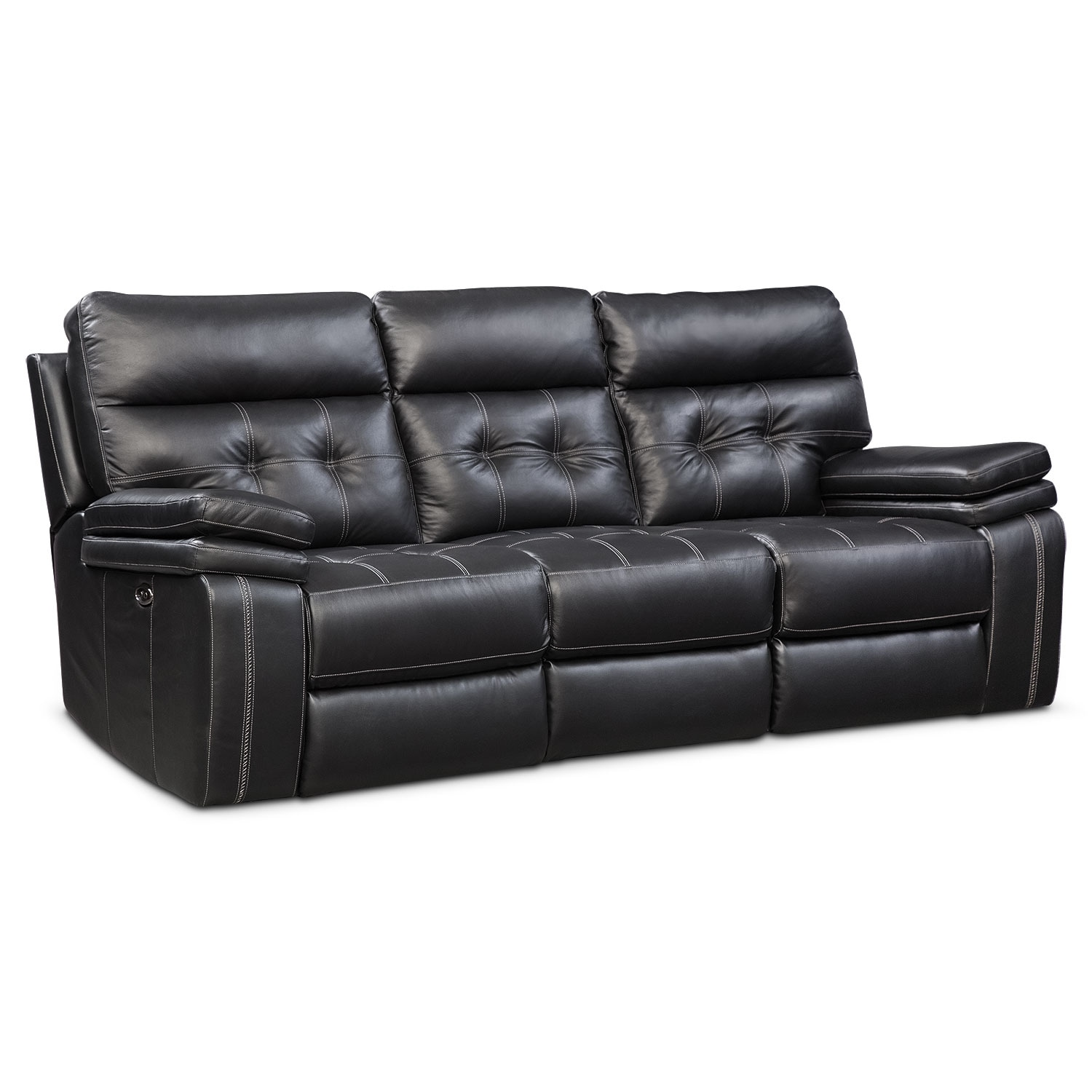 brisco power reclining sofa black - Black Leather Loveseat