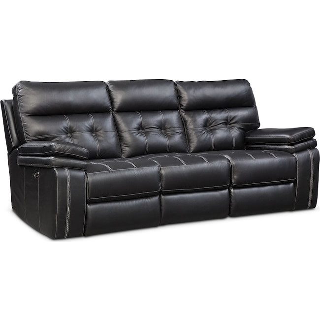 Living Room Furniture - Brisco Power Reclining Sofa - Black