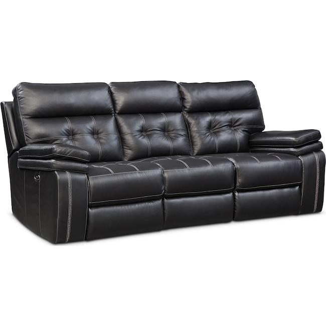 Living Room Furniture - Brisco Power Reclining Sofa - Black