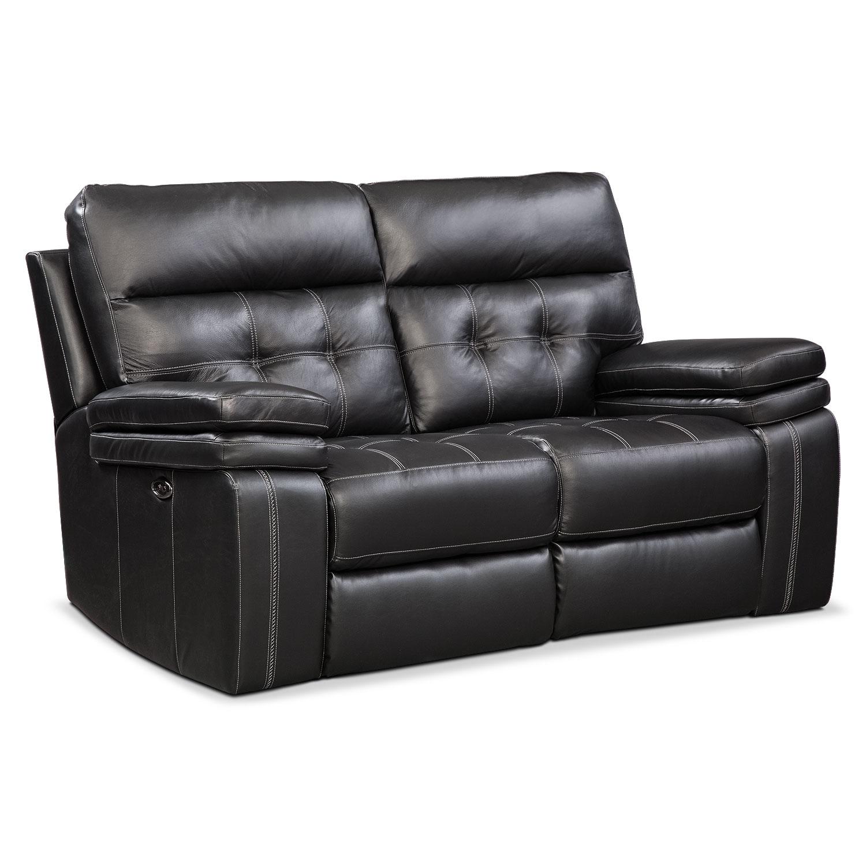 Living Room Furniture - Brisco Black Power Reclining Loveseat