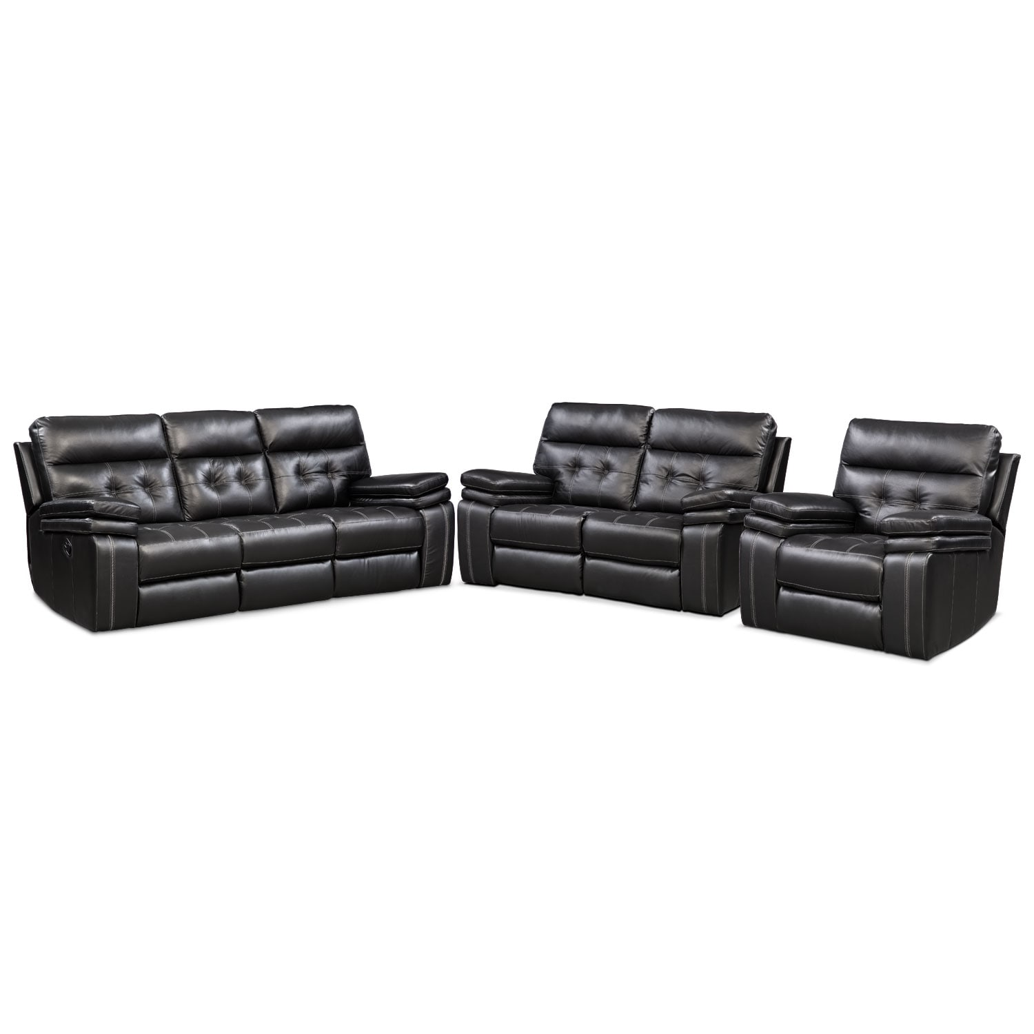 Living Room Furniture - Brisco Manual Reclining Sofa, Reclining Loveseat and Recliner Set - Black