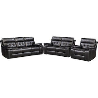 Brisco Manual Reclining Sofa, Reclining Loveseat and Recliner Set - Black