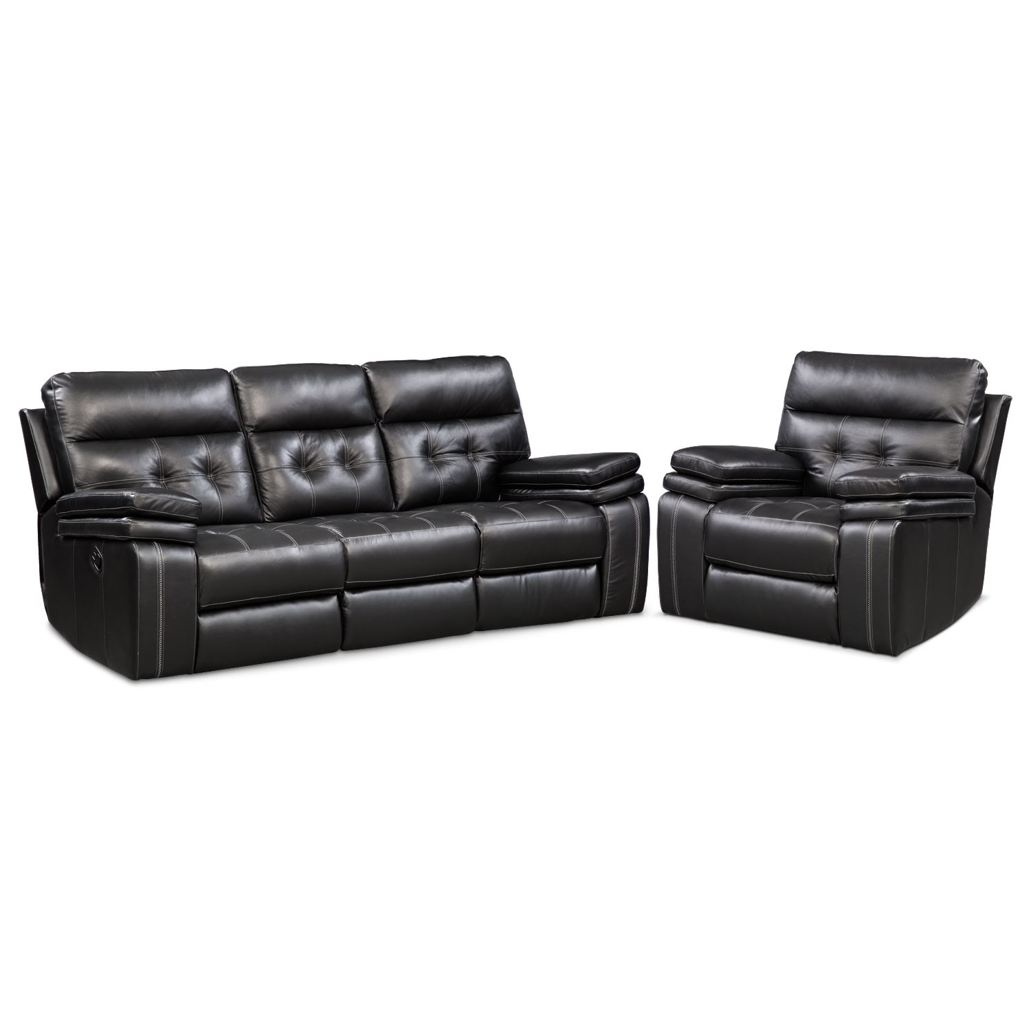 Living Room Furniture - Brisco  Manual Reclining Sofa and Recliner Set - Black