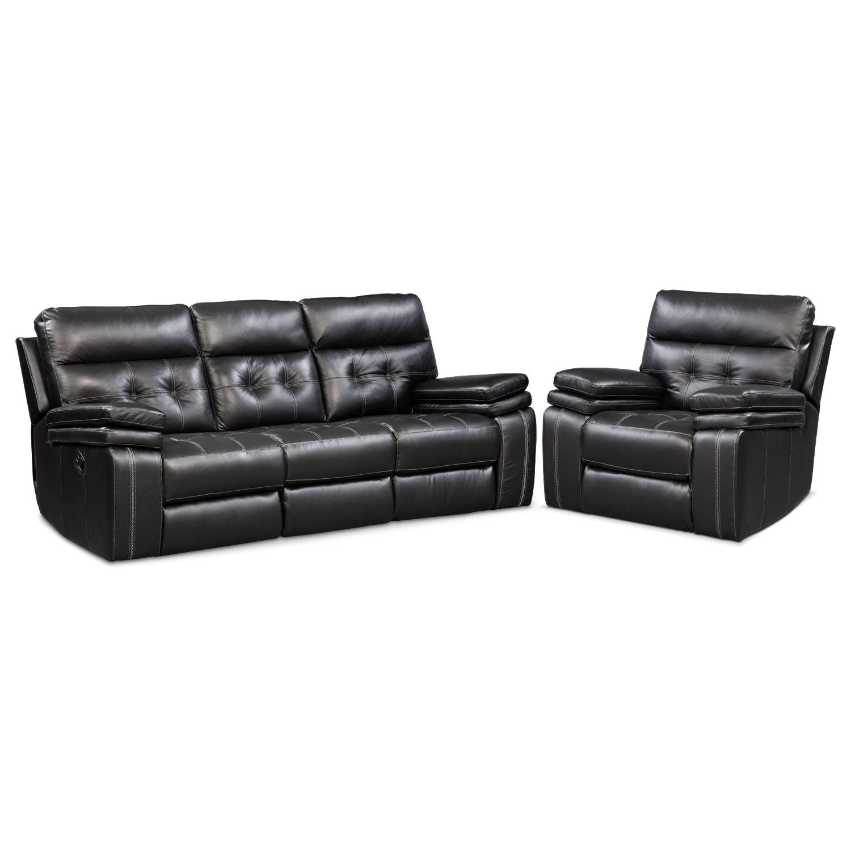 Living Room Furniture - Brisco  Manual Reclining Sofa and Recliner Set - Black
