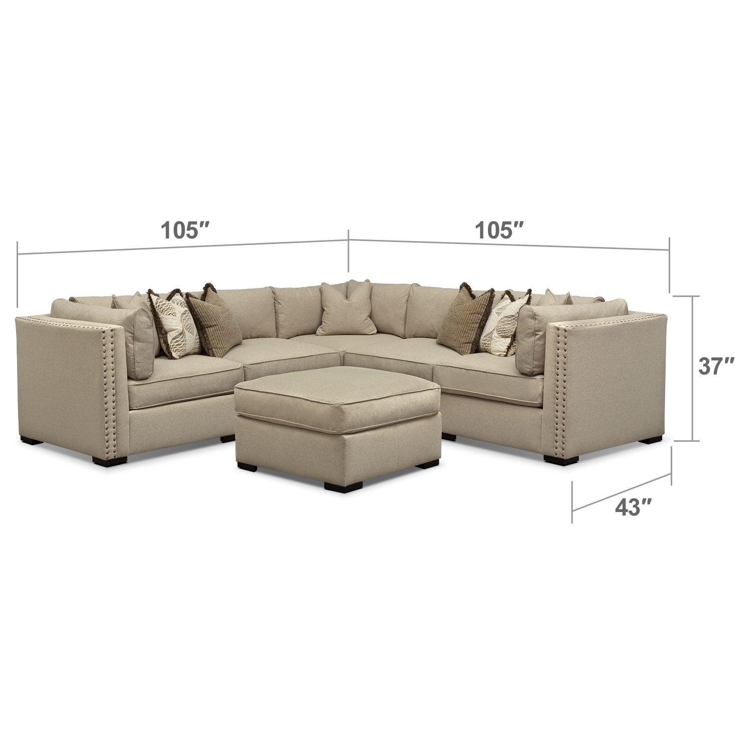 Living Room Furniture - Athens 6 Pc. Sectional