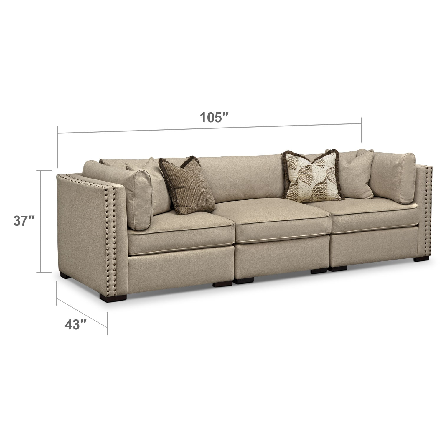 Living Room Furniture - Athens 3 Pc. Sectional
