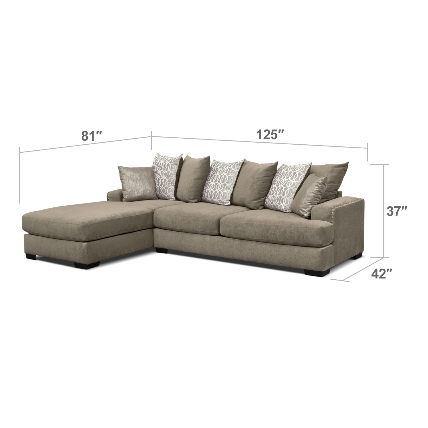 Living Room Furniture - Tempo 2 Pc. Sectional with Left-Facing Chaise