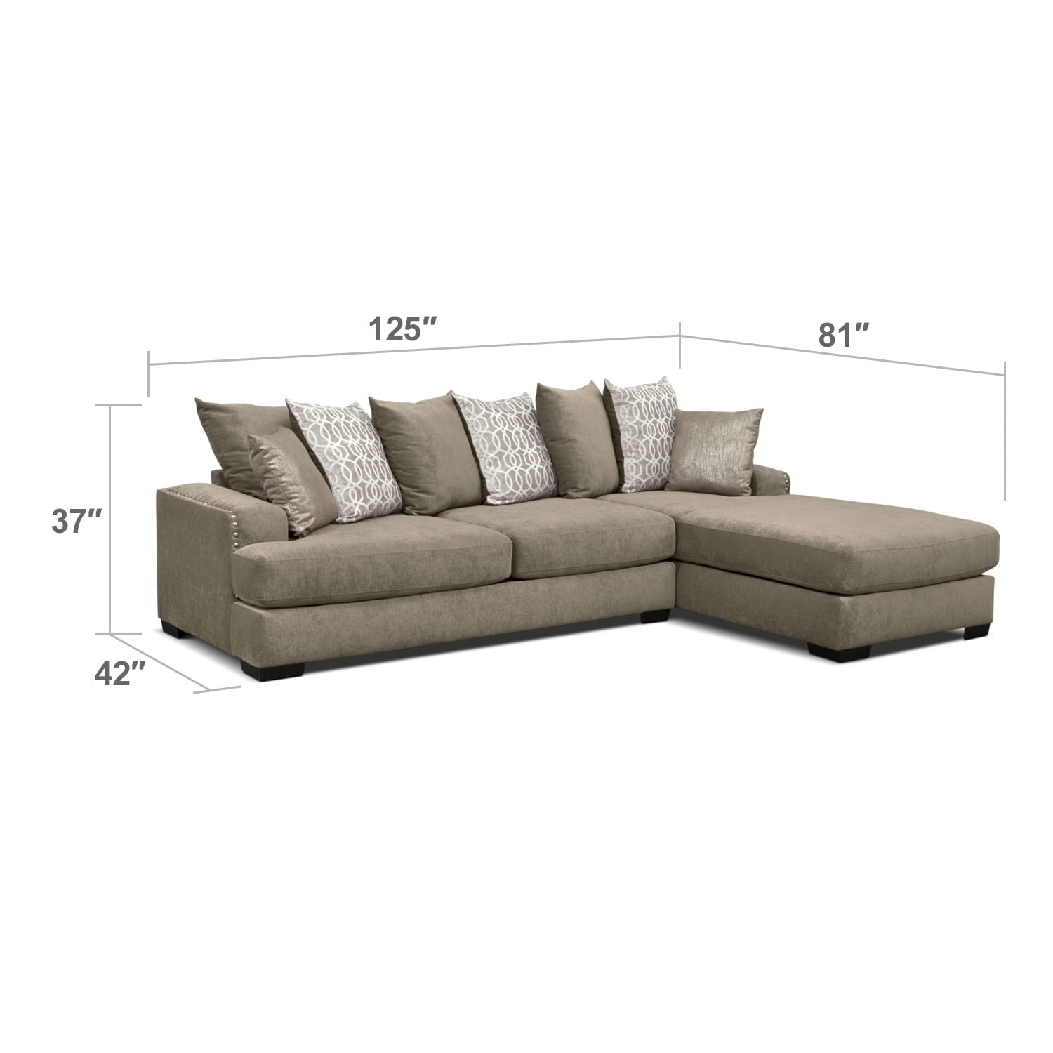 Living Room Furniture - Tempo 2-Piece Sectional with Right-Facing Chaise - Platinum