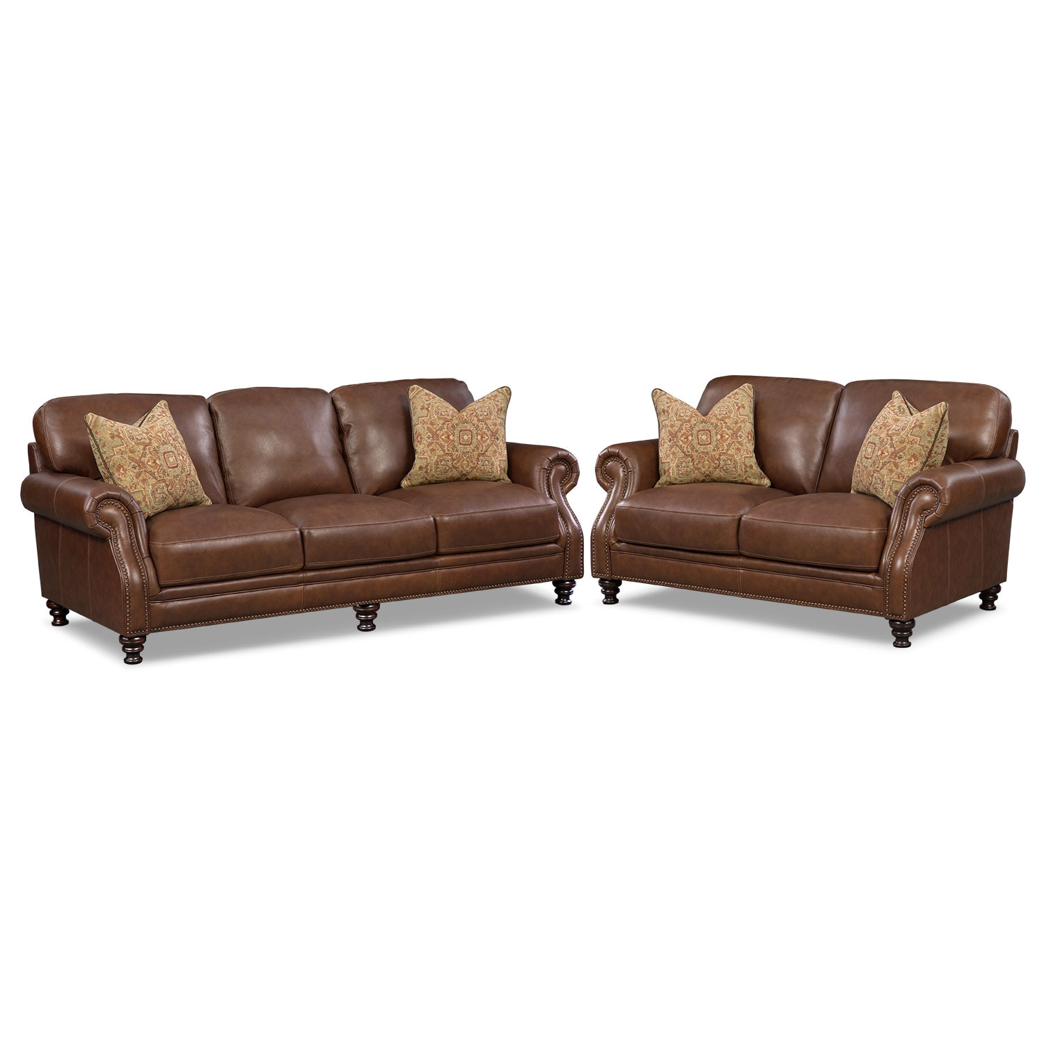 Living Room Furniture - Carrington Tobacco 2 Pc. Living Room