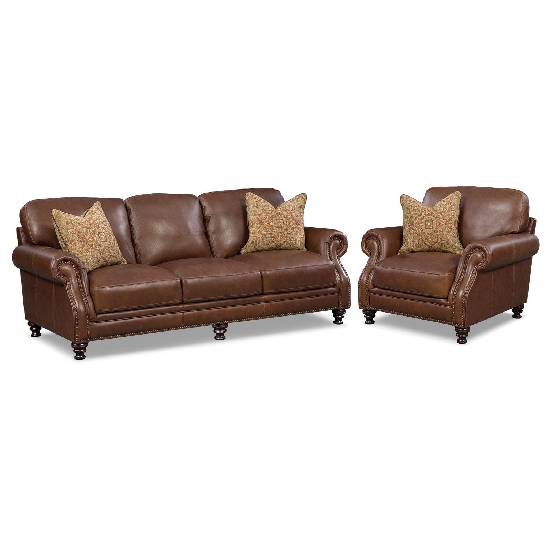 Living Room Furniture - Carrington Tobacco 2 Pc. Living Room w/ Chair